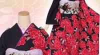 R1164 黒 紅桜花☆(絹)
