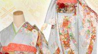 R1424 グレー 熨斗に八重桜☆(絹)