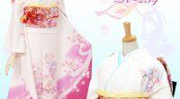 R254 白 ピンク桜と蝶々のメルヘン☆(絹)