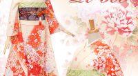 R305 クリーム オレンジぼかし 牡丹と菊桜