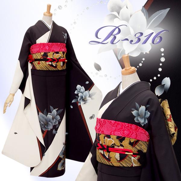 R316 白×黒 木蓮☆(絹)