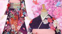 R449 紫 雪輪に大輪菊と牡丹(絹)