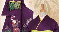 R698 紫 椿と牡丹☆(絹)