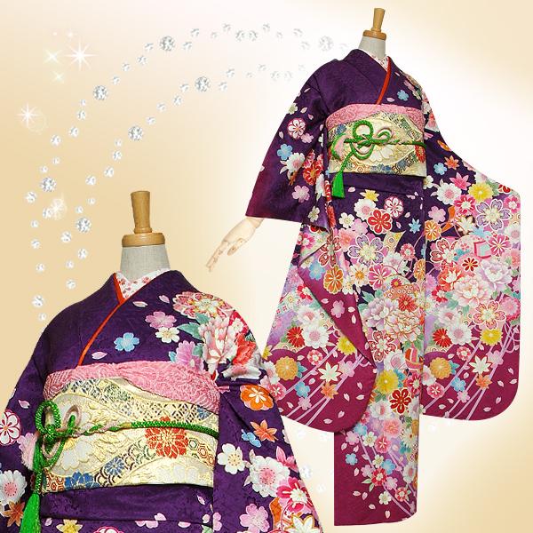 R1151 紫 桜牡丹に毬☆(絹)
