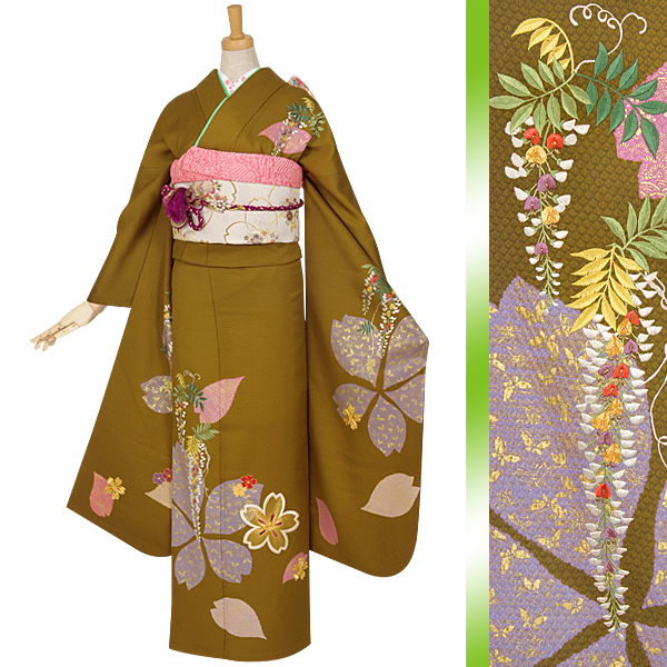 R845 金茶 金駒刺繍 桜と藤☆(絹)