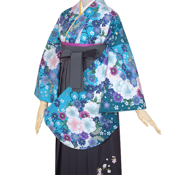 G644 ブルー 八重桜に蝶