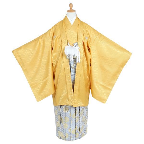 JY005-JY145 【ジュニア紋付袴】黄紋付×紋袴